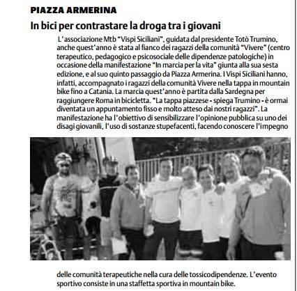 Articolo sulla tappa di Piazza Armerina con la Comunità Vivere