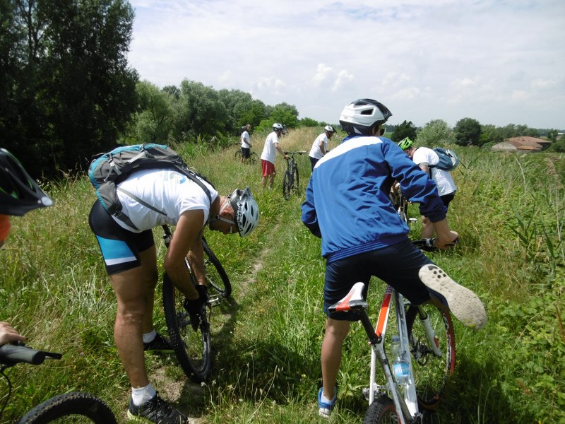 Pulizia bici dopo lunga pedalata nel prato